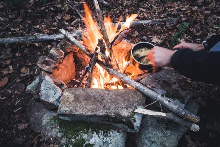 Ramen over a campfire