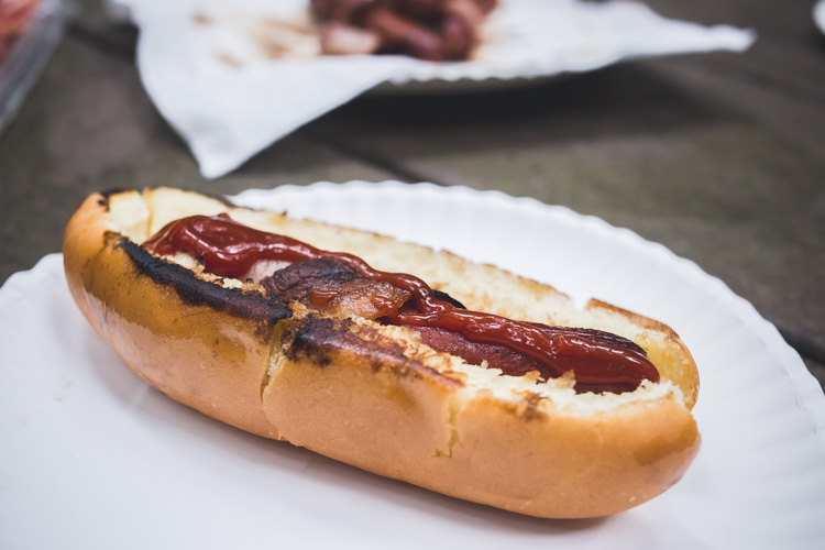Bacon wrapped hotdog